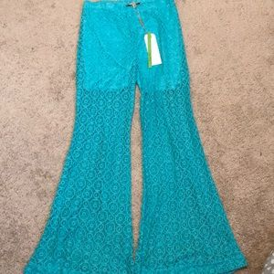 Pants - Turquoise lace flare pants
